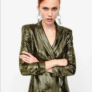 Zara gold sequin blazer dress sz. S